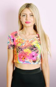 Neon Print Cropped Top